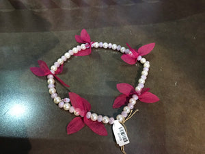 Long Pearls with Magenta Bracelet