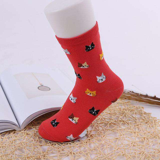 Cat Socks - Red