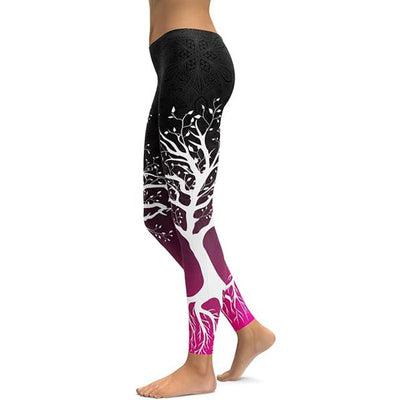 Ombre Black/Pink Spirit Tree Leggings - Legasocks