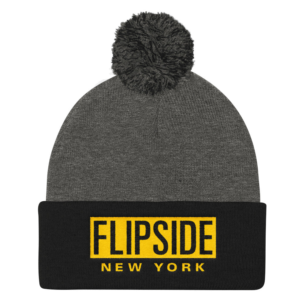 FLIPSIDE Pom-Pom Beanie Dark Heather Grey & Black - Gold