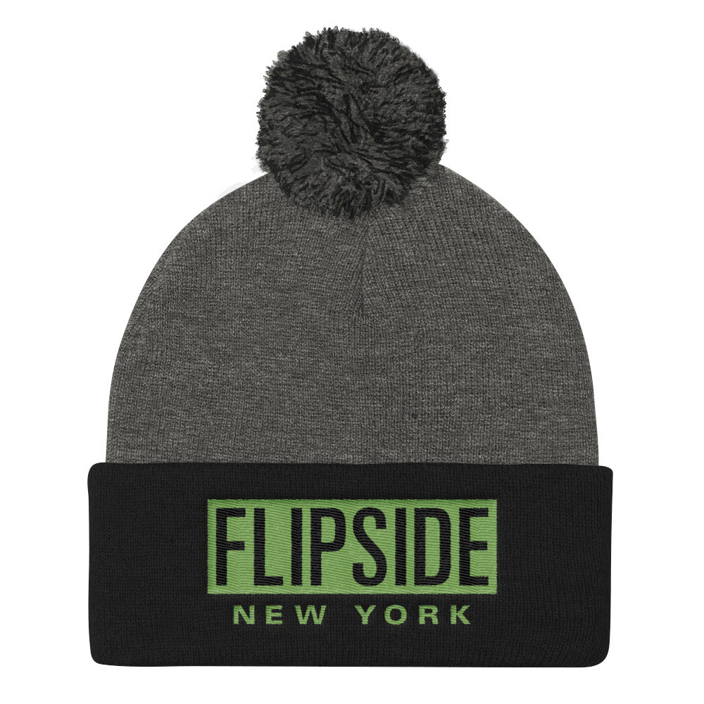 FLIPSIDE Pom-Pom Beanie Dark Heather Grey & Black - Kiwi Green