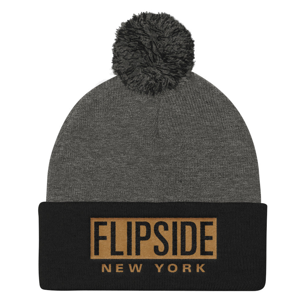 FLIPSIDE Pom-Pom Beanie Dark Heather Grey & Black - Old Gold