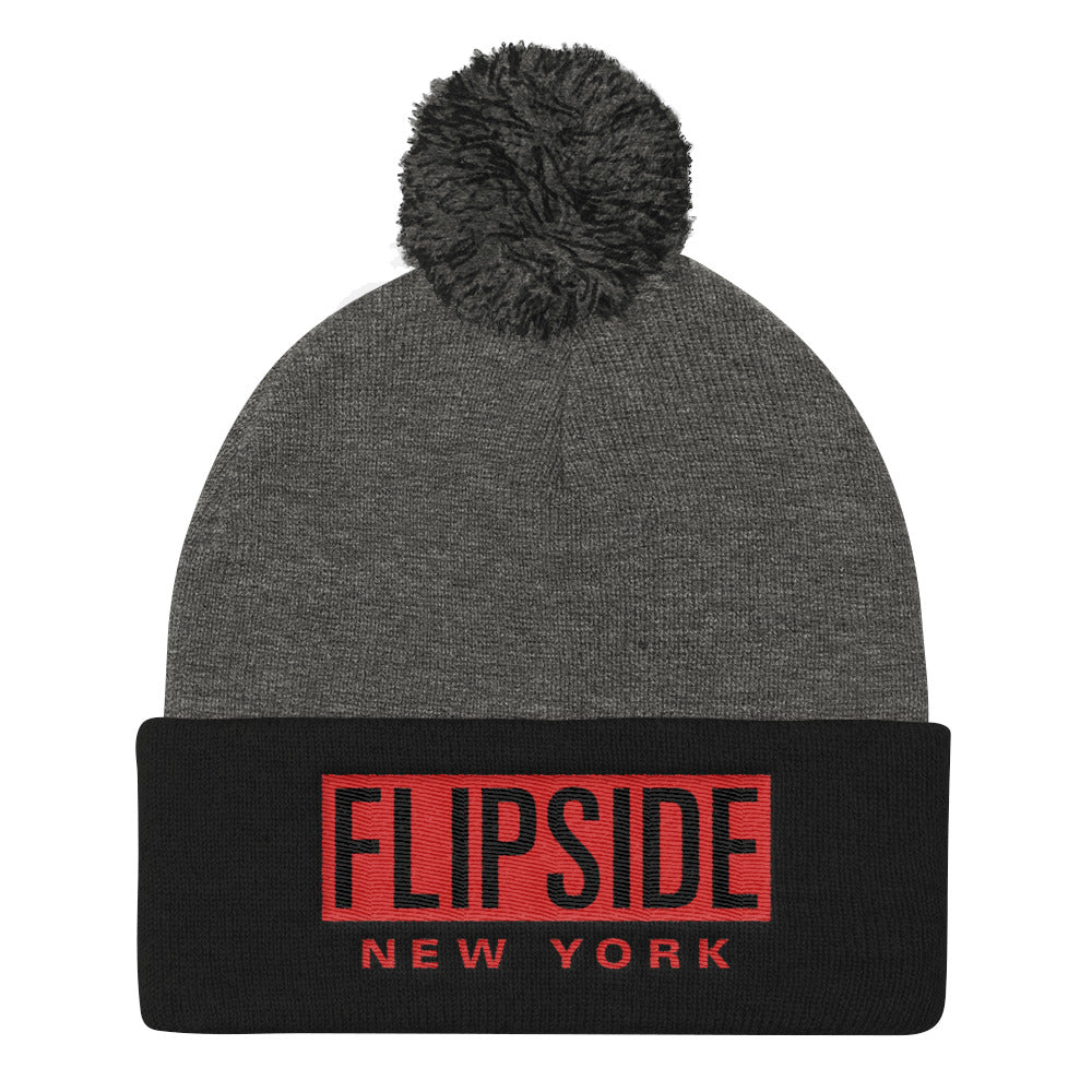 FLIPSIDE Pom-Pom Beanie Dark Heather Grey & Black - Red