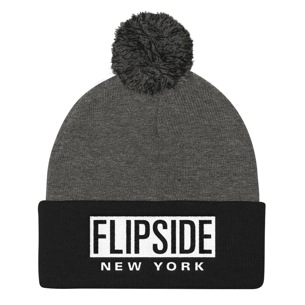 FLIPSIDE Pom-Pom Beanie Dark Heather Grey & Black - White