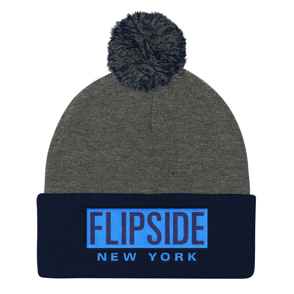 FLIPSIDE Pom-Pom Beanie Dark Heather Grey & Black - Aqua
