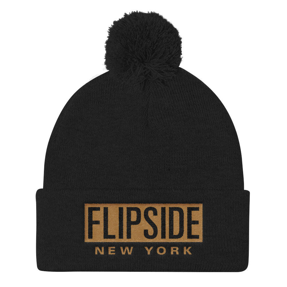 FLIPSIDE Pom-Pom Beanie Black - Old Gold