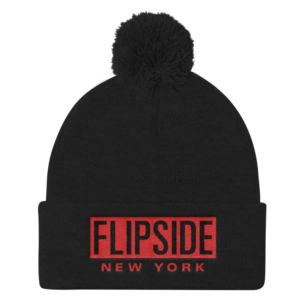 FLIPSIDE Pom-Pom Beanie Black - Red