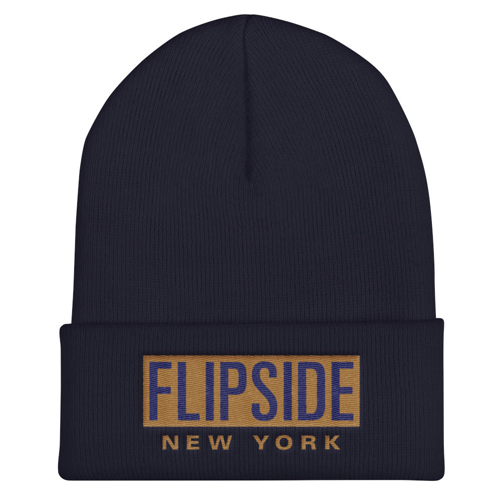 FLIPSIDE Beanie Navy - Old Gold