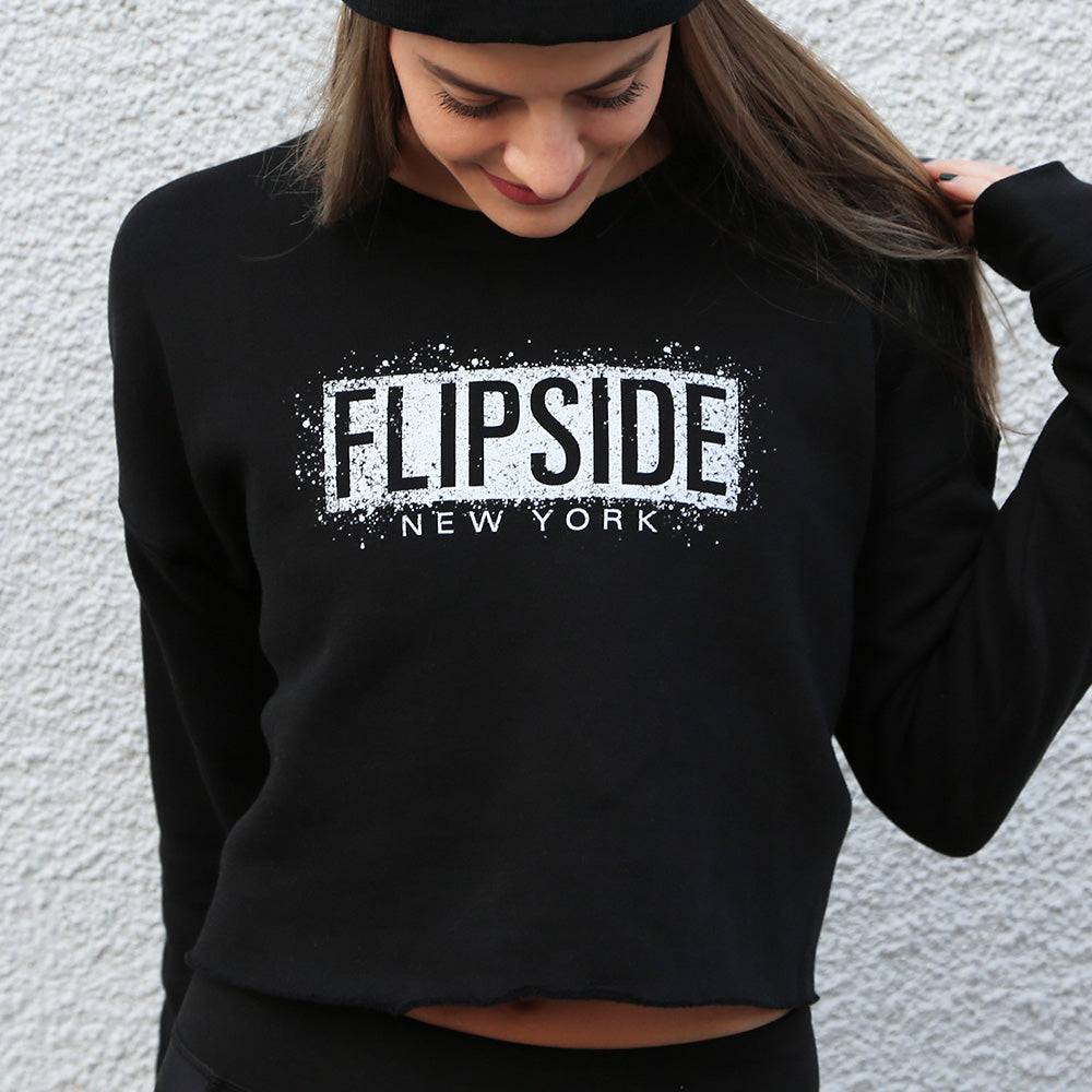 FLIPSIDE Splatter Fleece Crop Sweatshirt