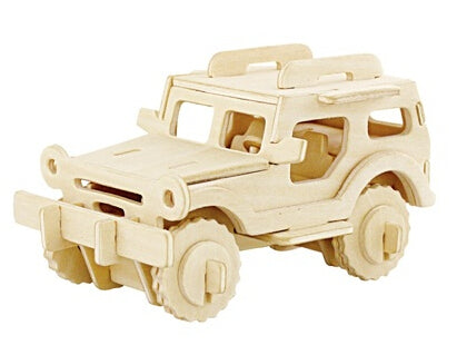 Handmade Kids Wooden Jigsaw Jeep Puzzle