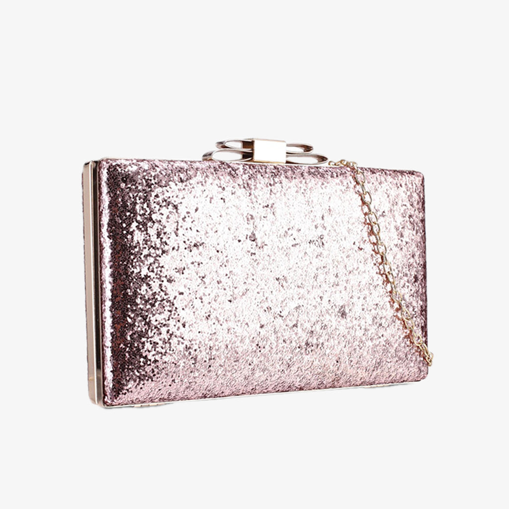 GLITTERY RIBBON CLUTCH