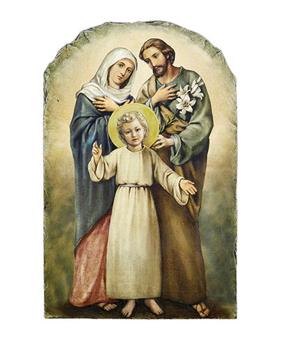 Arched Tile Plaque W/ Stand - Holy Family