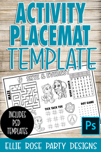 Activity Placemat Paper Template ** Photoshop Users **