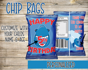 Shark Under The Sea Chip Bag Favor Bags