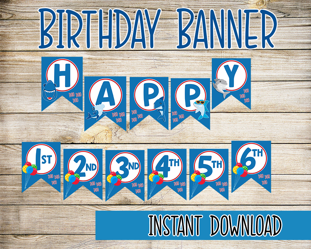 Shark Birthday Party Printable Decor Kit