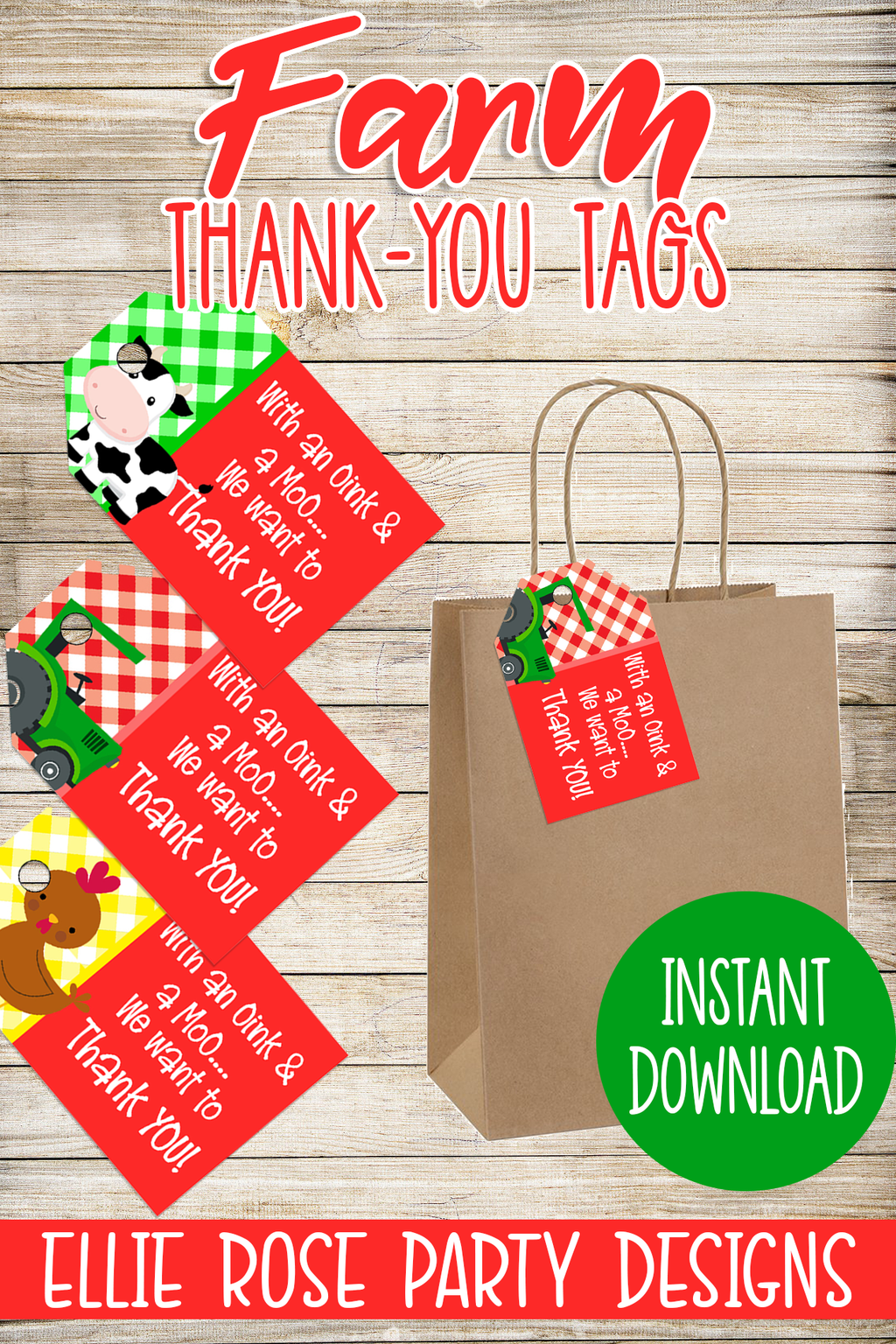 FARM ANIMAL FARMHOUSE BARNYARD FAVOR TAGS