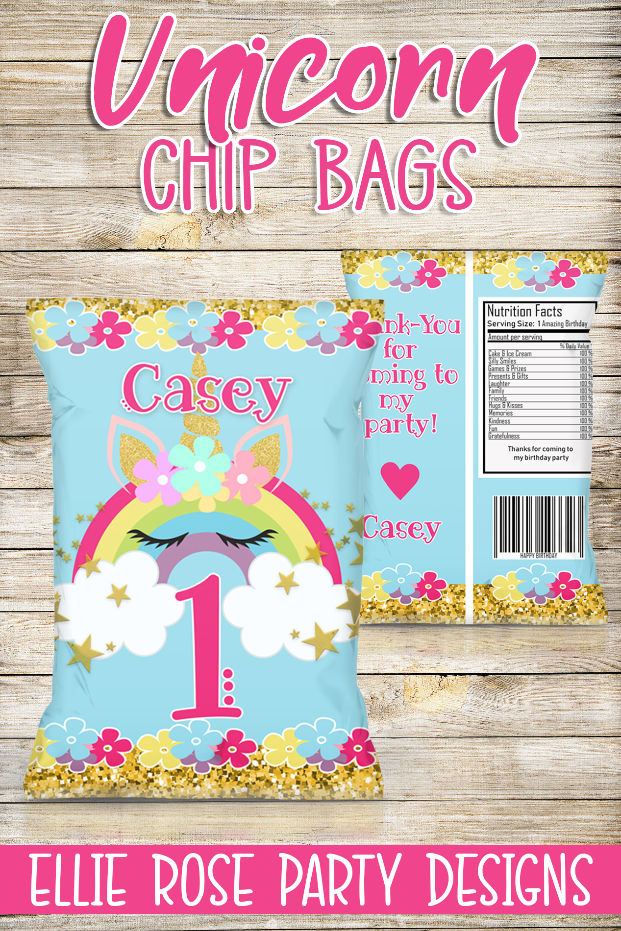 Unicorn Glitter Rainbow Chip Bags