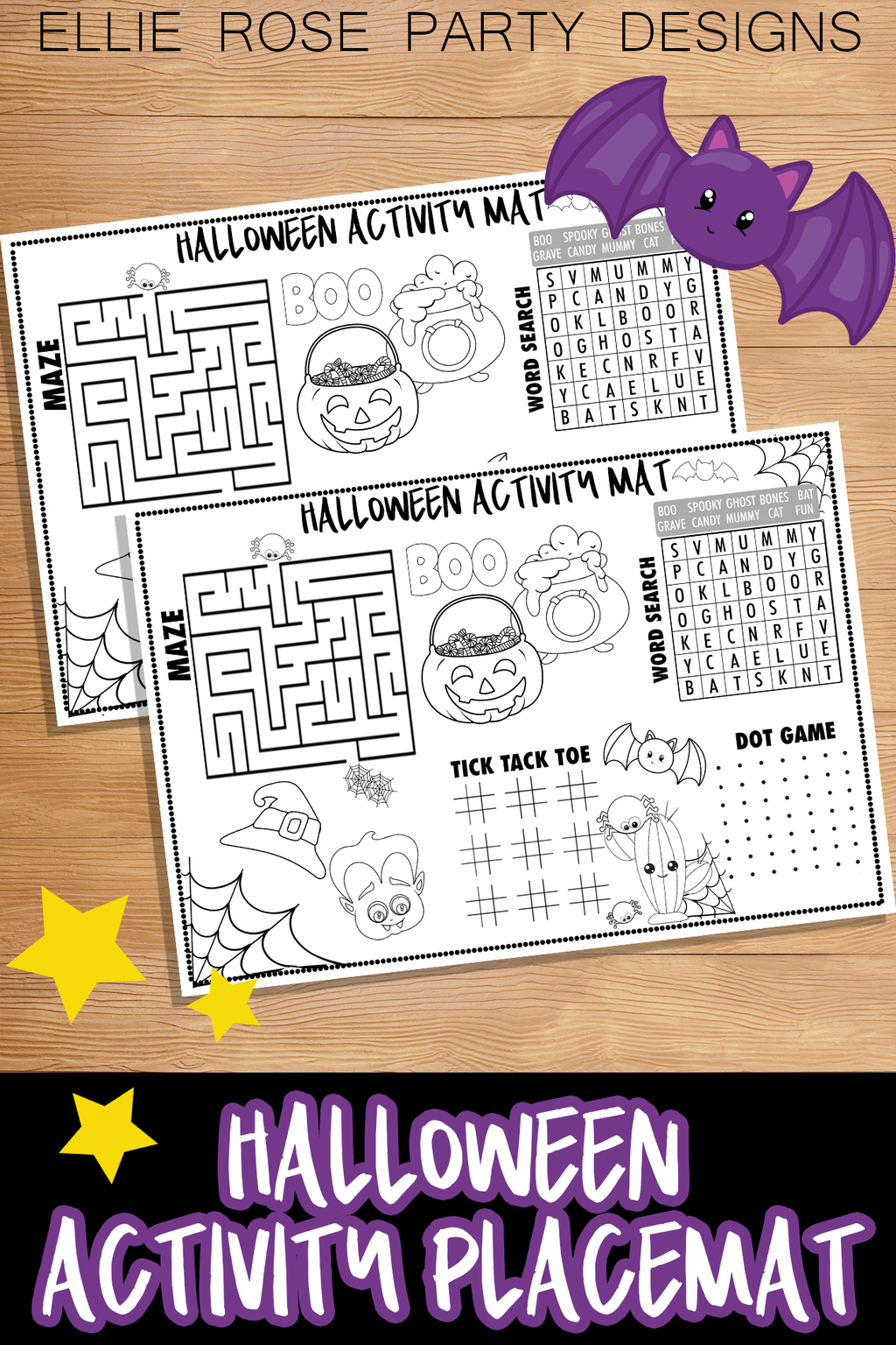 Halloween Activity Coloring Placemat [INSTANT DOWNLOAD]