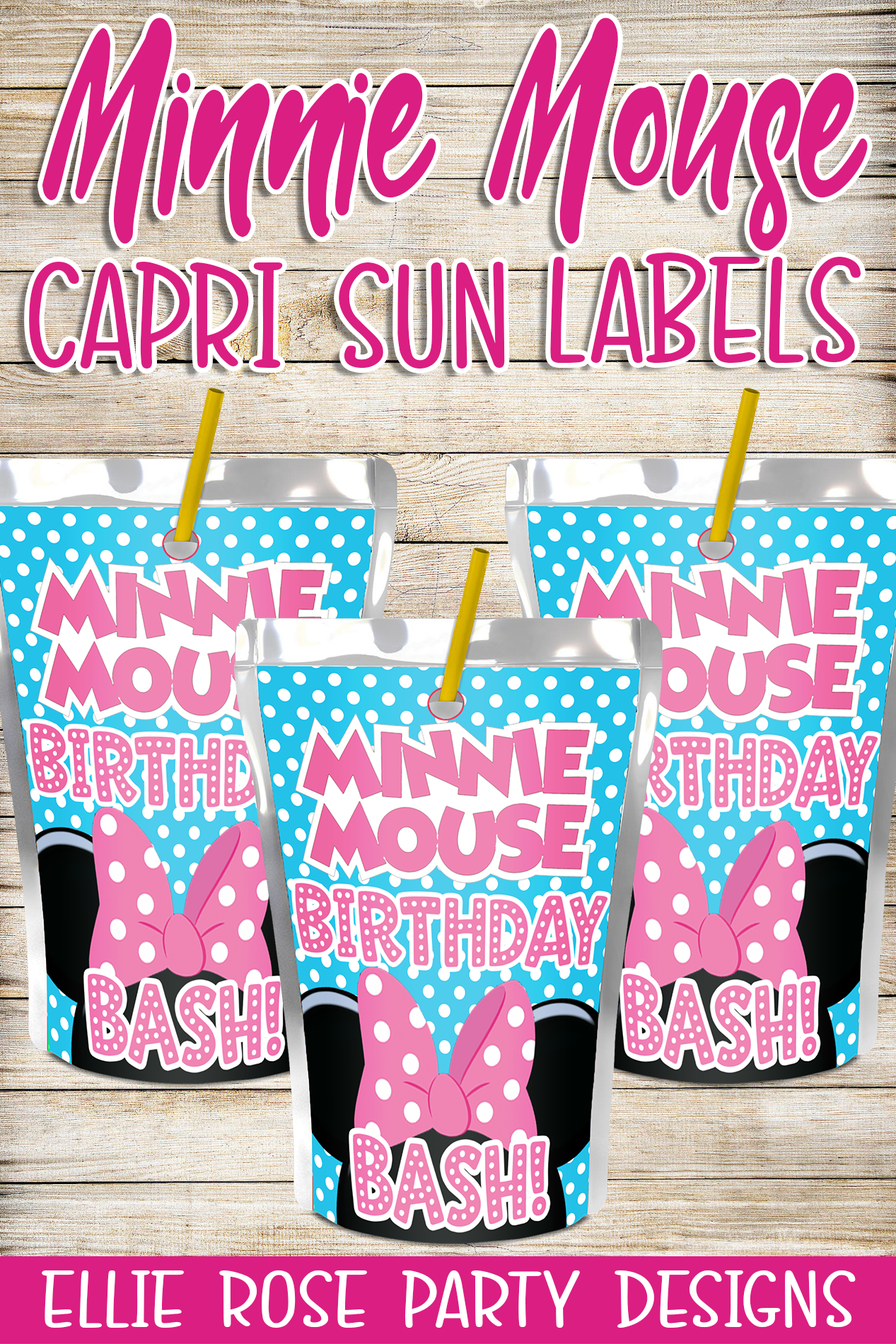 Minnie Mouse Bowtique Juice Pouch Capri Sun Labels [INSTANT DOWNLOAD]