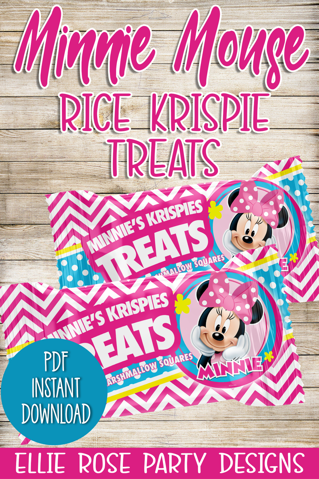 Minnie Mouse Bowtique Rice Krispie Marshmallow Treats Printables [INSTANT DOWNLOAD]