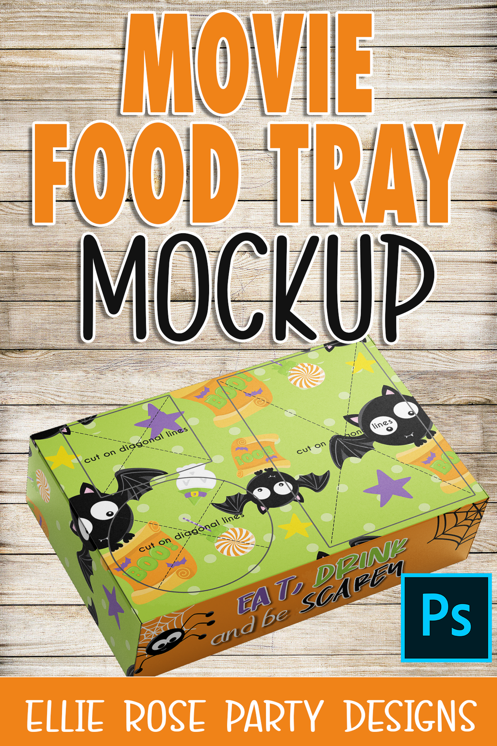 Old Movie Food Tray Box Mockup ** Photoshop Users **