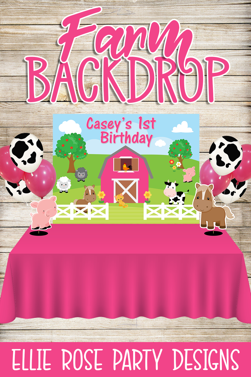 Pink Farm Party Backdrop