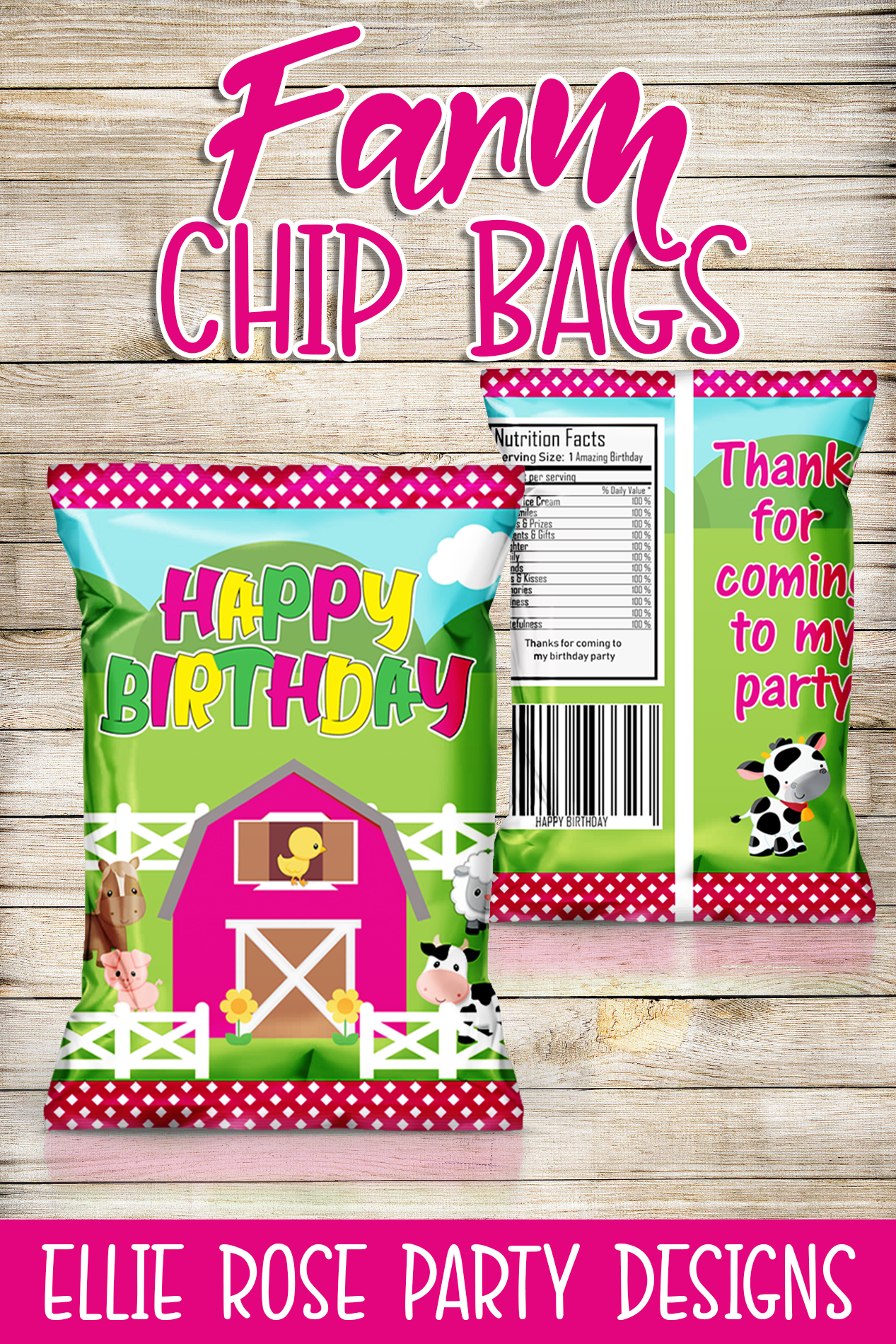 PINK FARM BARNYARD FARMHOUSE BIRTHDAY PARTY FAVOR CHIP BAGS
