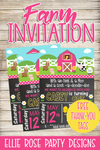 PINK FARM BARNYARD FARMHOUSE BIRTHDAY PARTY INVITATION