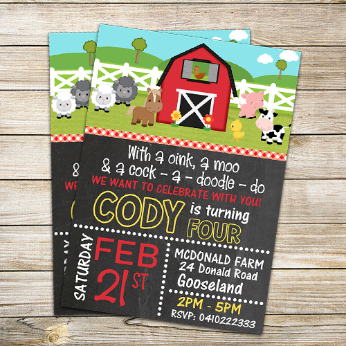 FARM BARNYARD PARTY INVITATION DIGITAL