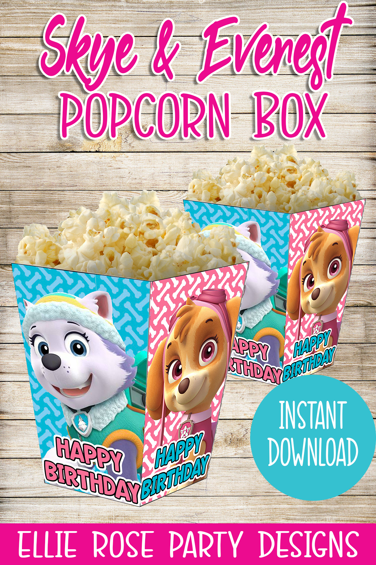SKYE AND EVEREST PAW PATROL PARTY POPCORN BOXES