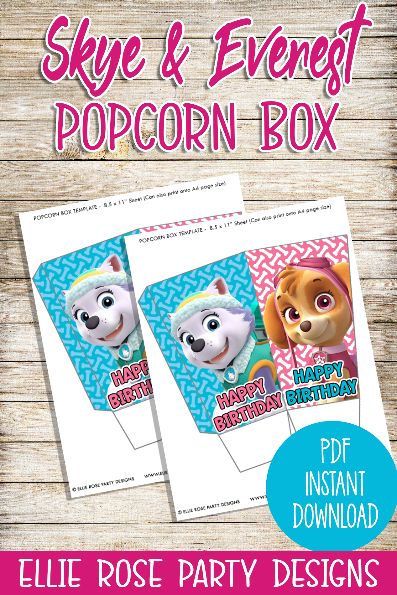 graphic regarding Popcorn Box Printable called Skye and Everest Crimson Popcorn Box