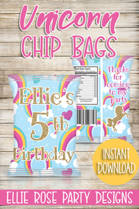 Unicorn Rainbow Chip Bags