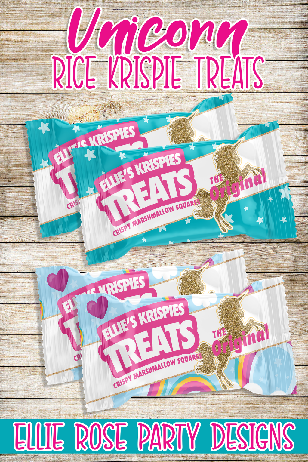 Unicorn Rice Krispie Treat party favors ideas