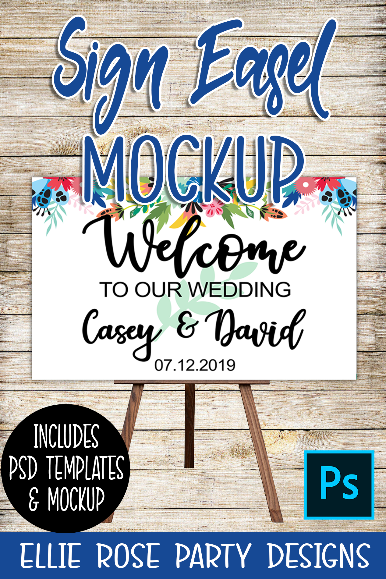 Welcome Sign Easel Mockup and Template ** Photoshop Users **