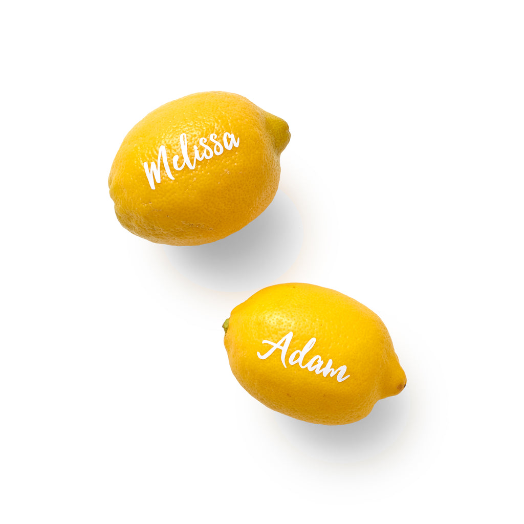 Be the Amalfi toast with our Luxe place cards — fresh lemons with customized script.