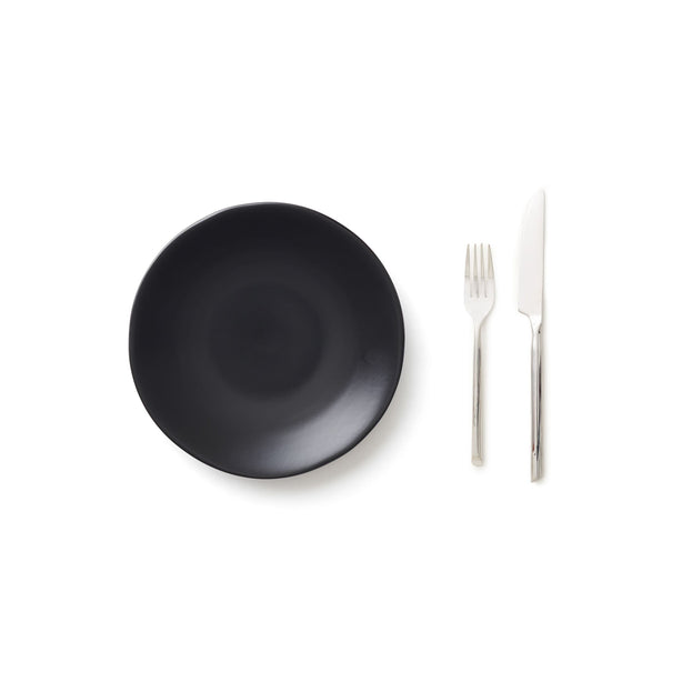 Black Salad Plate & Silver Flatware Set/8
