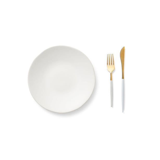 White Salad Plate & Wht Gold Flatware S/8