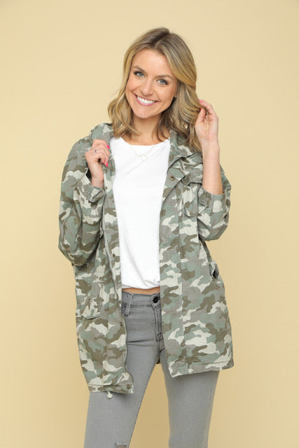 Camo Collared Cargo Jacket