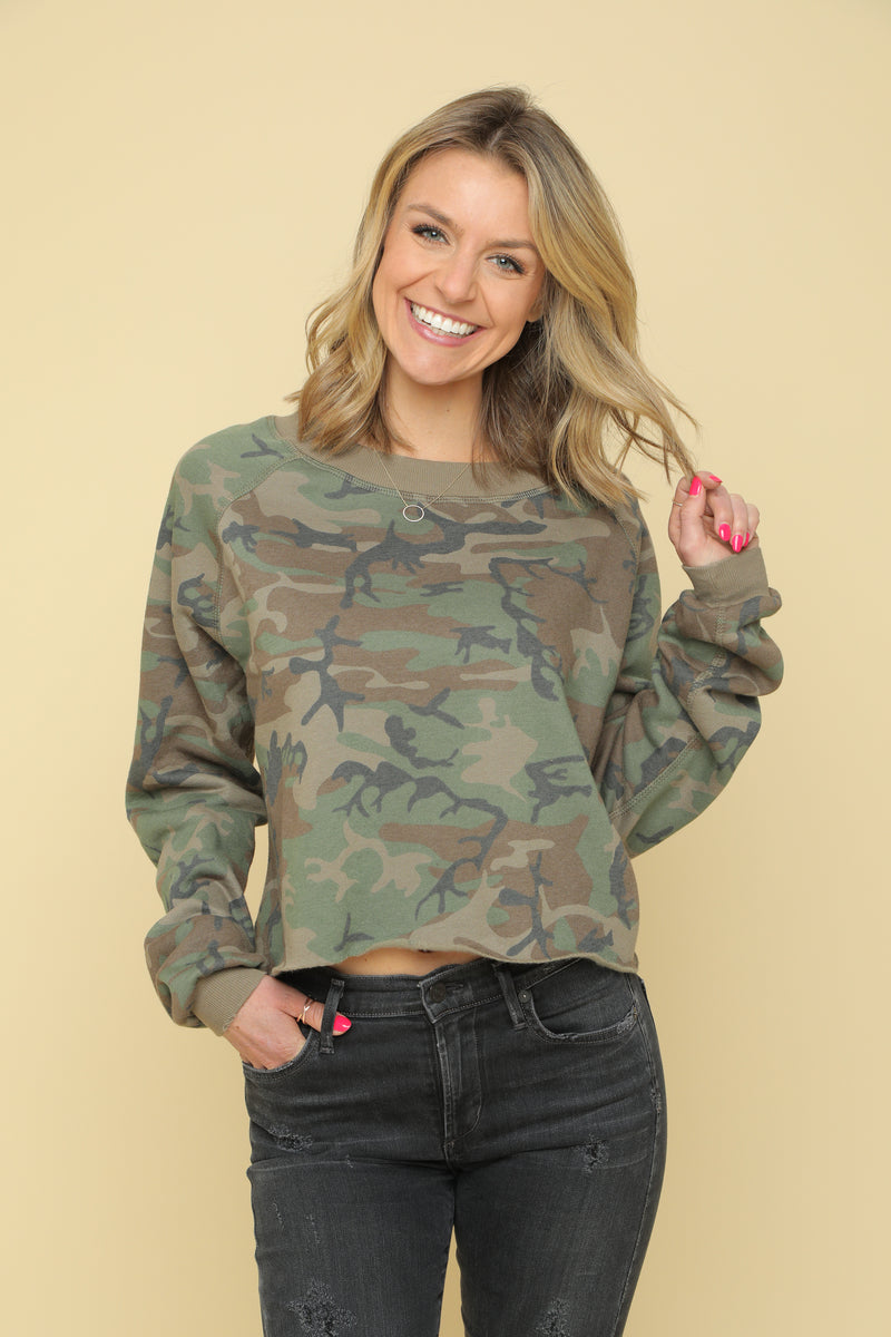 Camo Crop Boatneck Sweatshirt