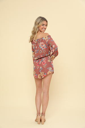 Floral Print Romper with Waist Ribbon