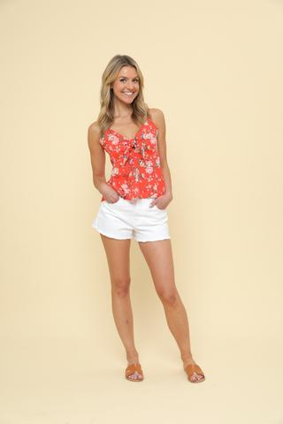 Floral Crop Top - Red