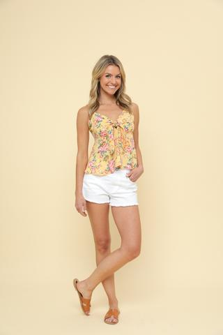 Floral Crop Top - Yellow