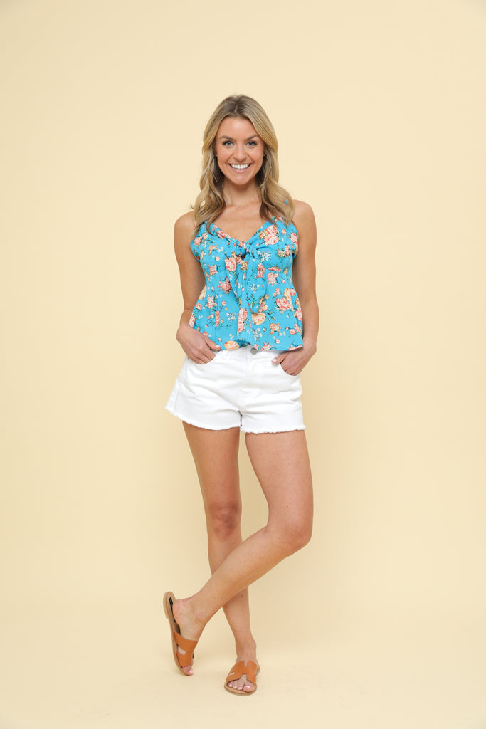 Floral Crop Top - Blue