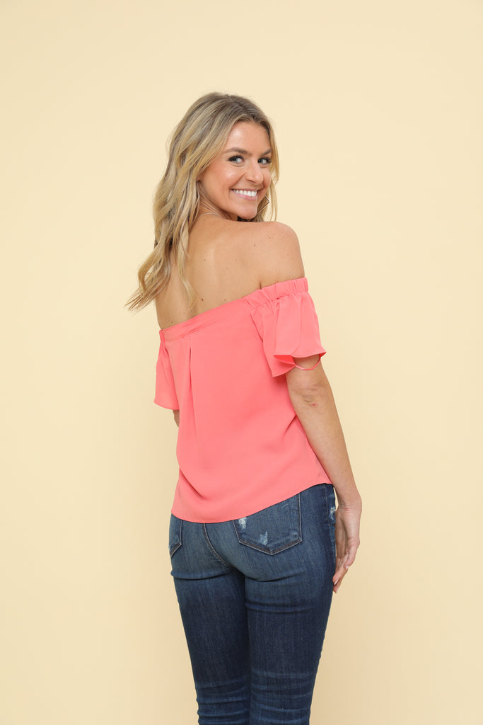 Off The Shoulder Coral Top