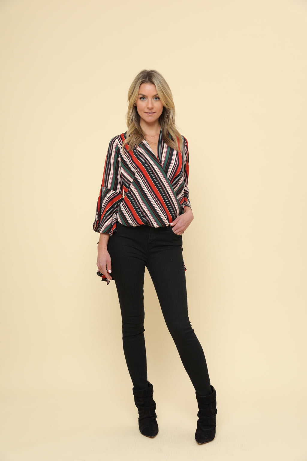 Long Bell Sleeved Overlapped Blouse