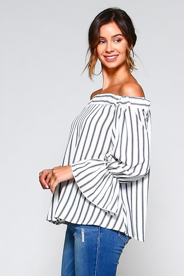 Woven Stripe Off-Shoulder Bell Sleeve