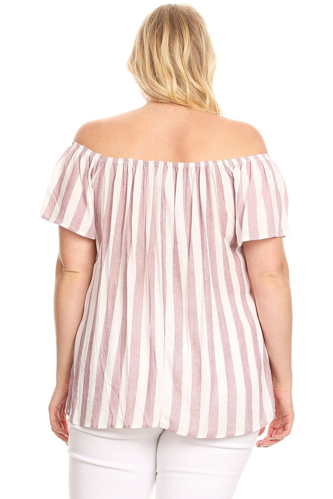 Striped Off Shoulder Short Sleeve Top