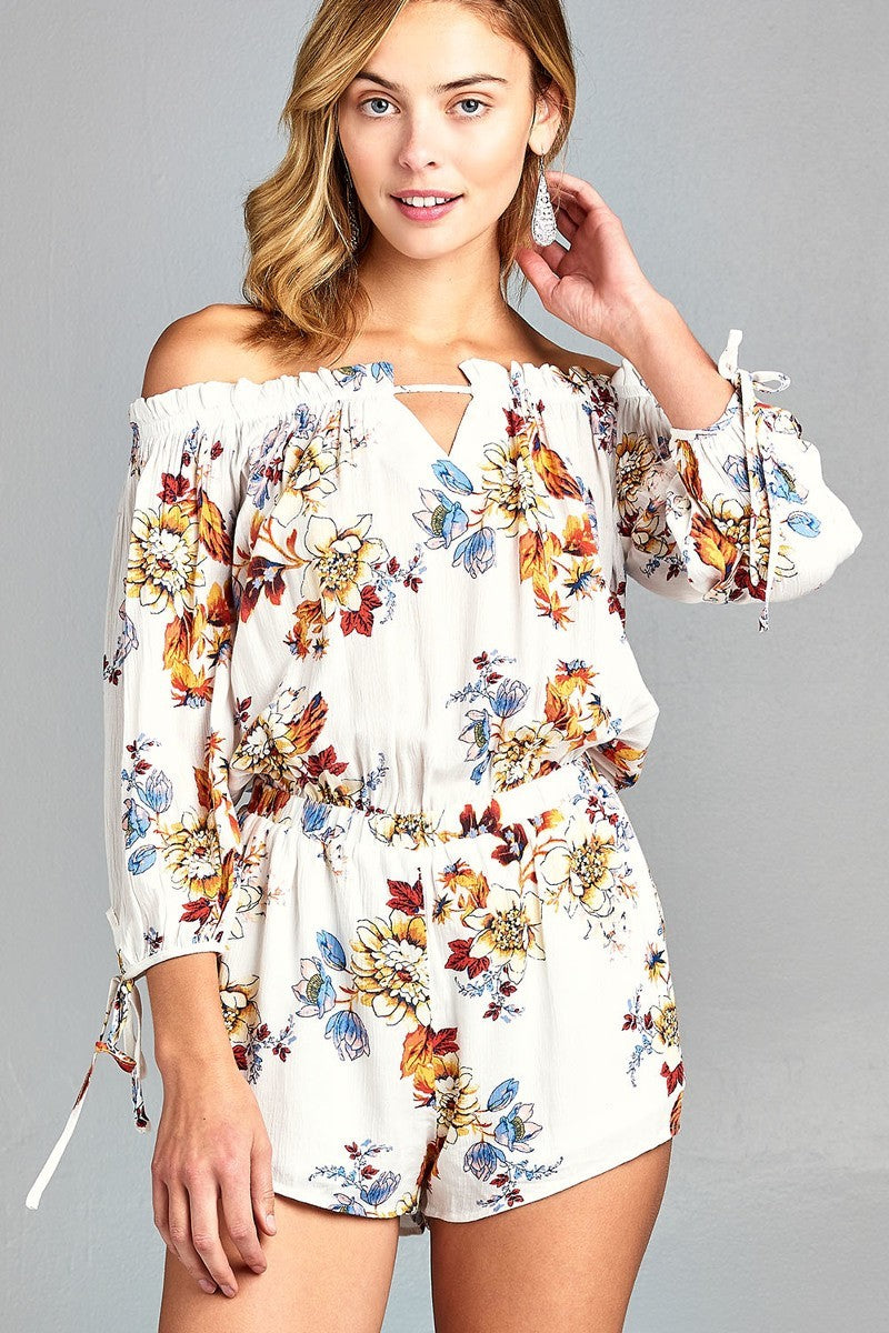 Off the Shoulder Floral Print Romper