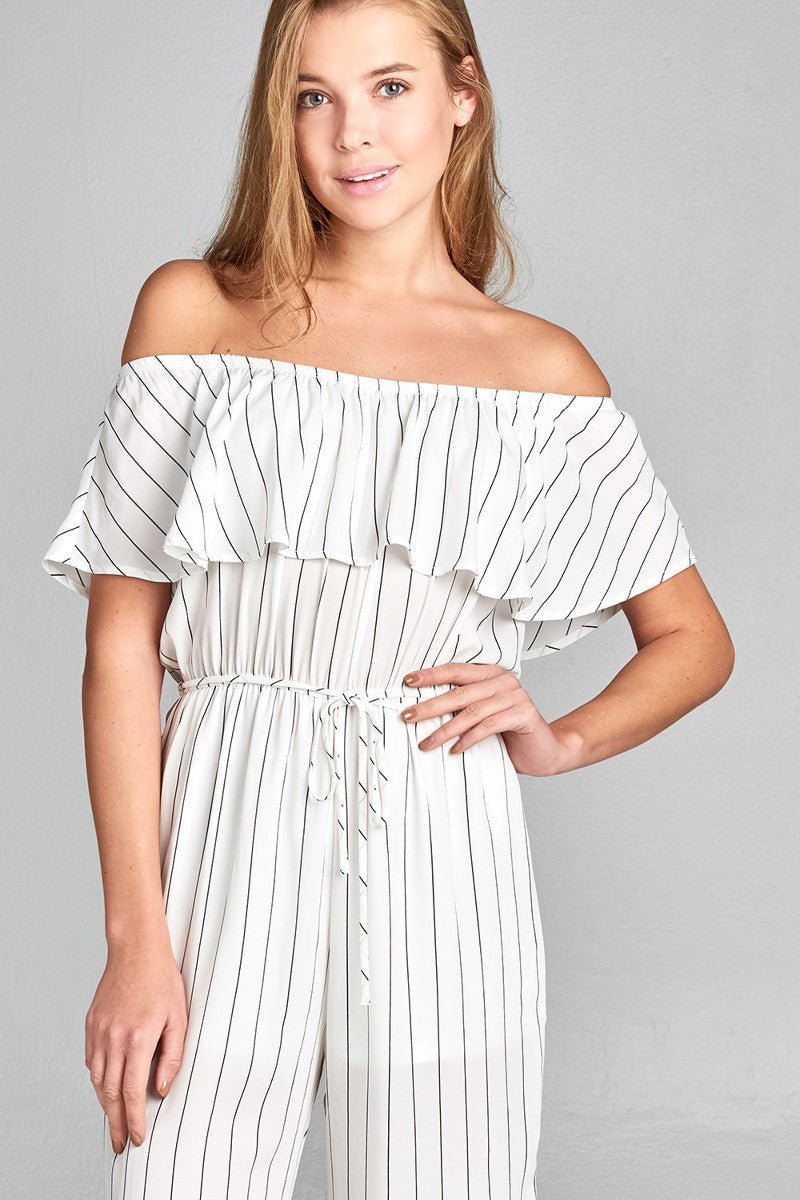 Off The Shoulder Wide Leg Striped Jumpsuit