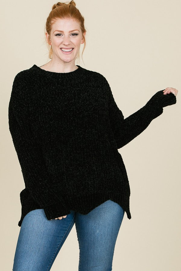 Knitted Sweater - Plus Size